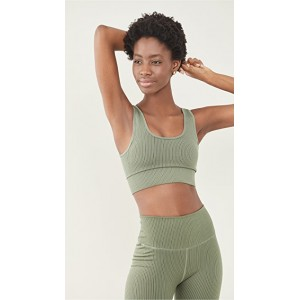 Good American Essentials Female The Seamless Ribbed Bra Agave 001 Activewear FEKV300