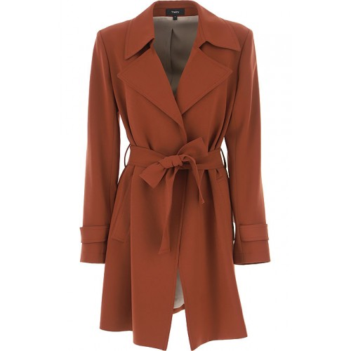 Theory Coats 70% Triacetate, 30% polyestere Brown Clothing for women FWQM290