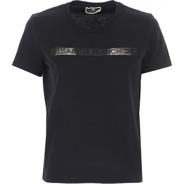 Elisabetta Franchi T-Shirts Reviews 100% Cotton Black Clothing for women in style OOZG944
